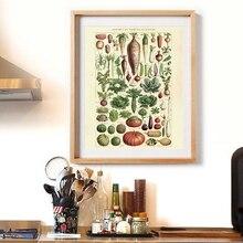 Versión francesa antiguo vegetal Vintage póster impreso ilustraciones botánicas cocina pared cuadro lienzo pintura hogar Decoración