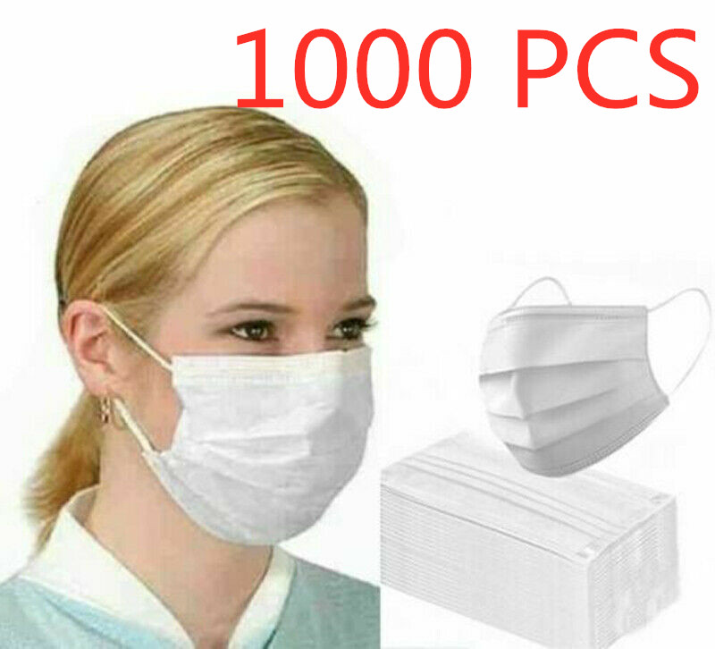 1000 PCS Fast Delever White Disposable Face Masks 3 Layers Anti-Dust Drop Shipping