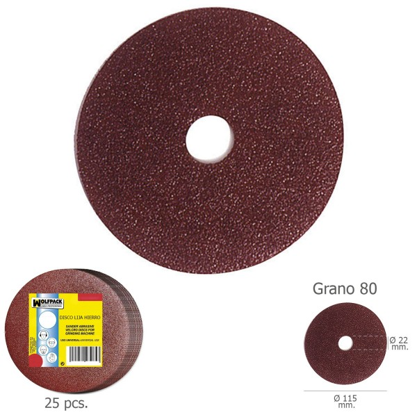 Sanding Disc Iron 115x22mm. Grit 80 (Pack Of 25 PCs)