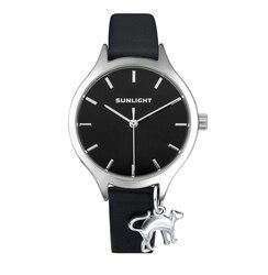 Women's Watch with pendant on leather belt sunlight
