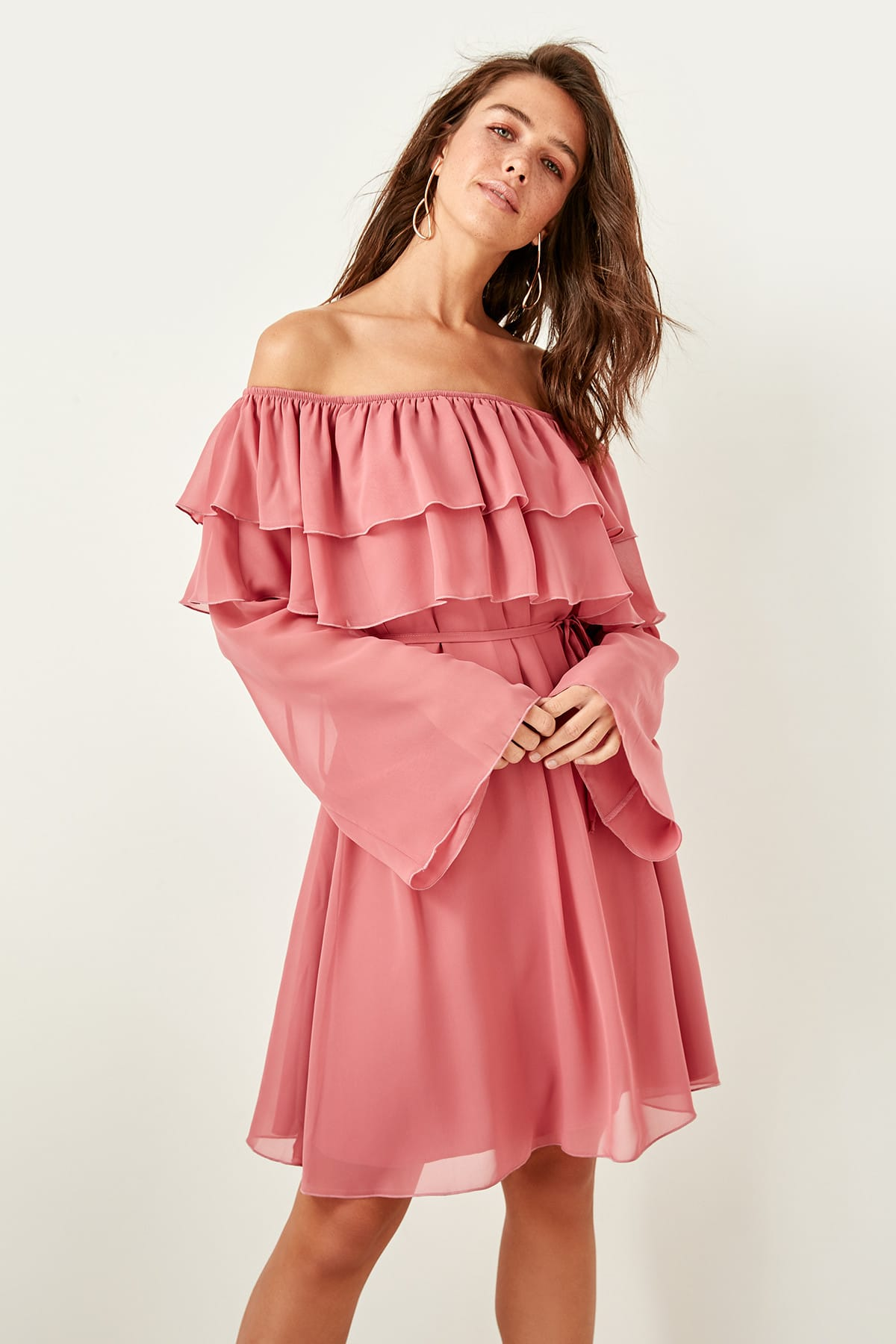 Trendyol Ruffle Detail Dress TPRSS19FZ0077