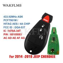 GQ4-53T Chip de 433MHz 7961M 4A Fobik Remoto Chave Para Jeep Cherokee 2014 2015 2015 2017 2018 2019 P/N 68105083 AC AD AE AF AG