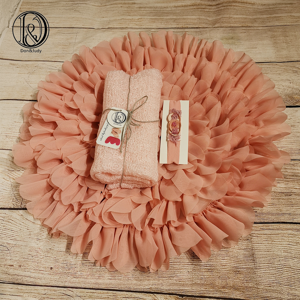 Don&Judy Chiffon Blanket With Matched Stretch Mohair Wrap And Headband Sets Soft Studio Prop Newborn Photography Baby Props