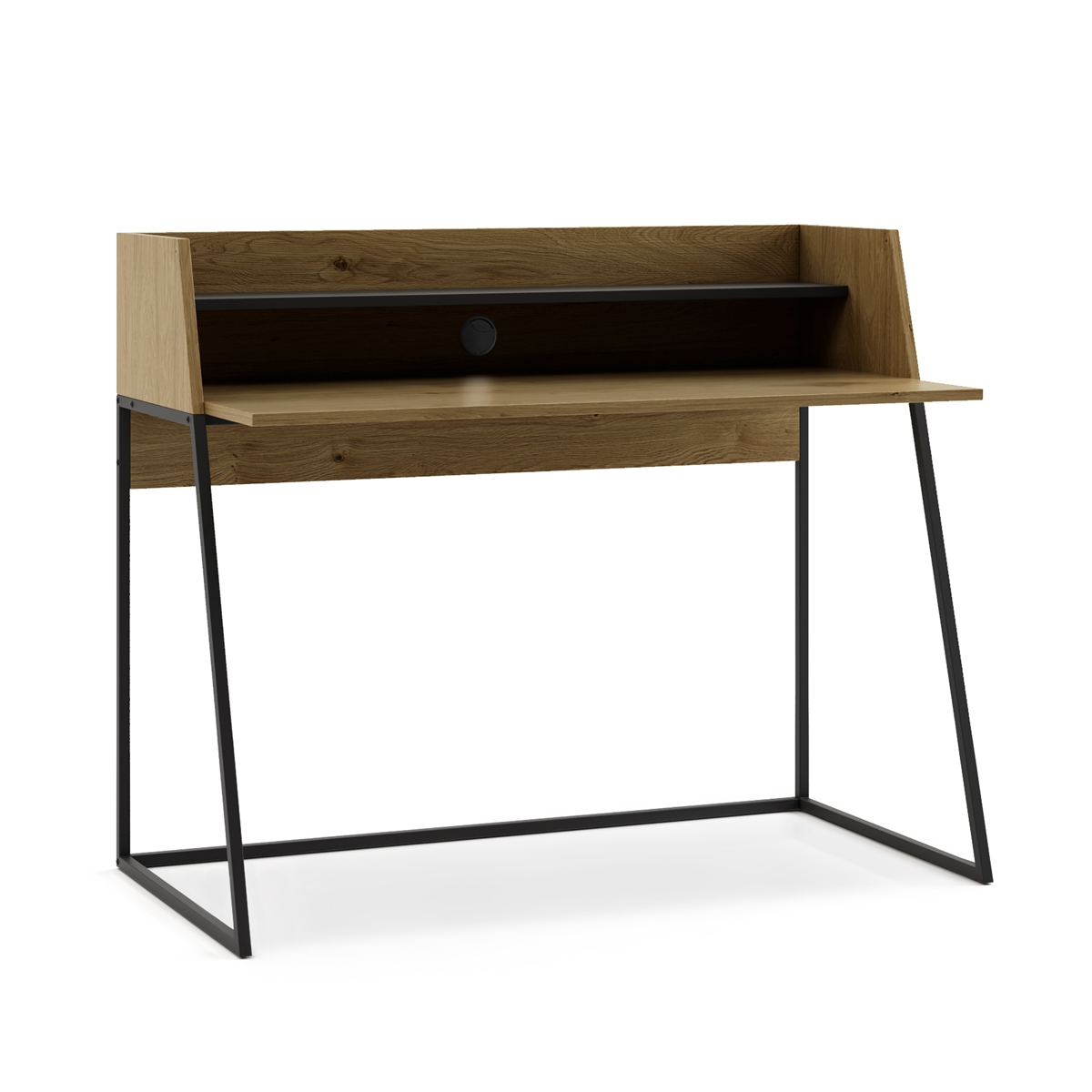 Desktop Wood Dispatch, Bureau Desk Computer, Office Desk With 2 Shelves And Topsy Black 120x62x89cm