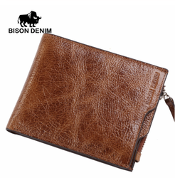محفظة رجالي بتصميم سحاب من قماش الدنيم W4454
