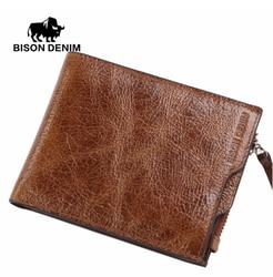 Designer men's wallet zipper Bison Denim W4454