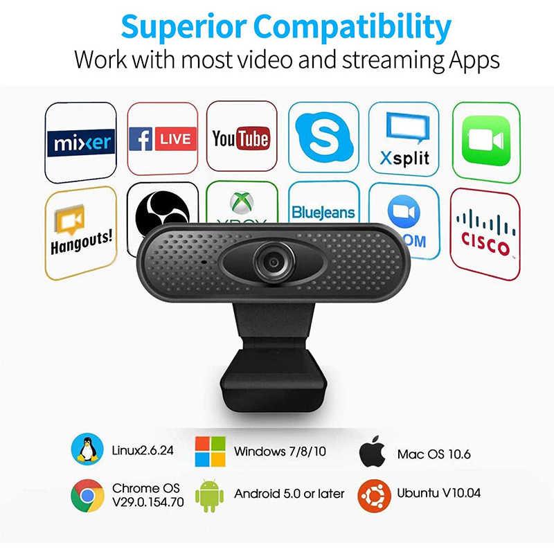 Веб-камера 1080P, HD веб-камера для потоковой передачи компьютера с микрофоном Camara USB Plug n Play веб-камера, широкоформатное видео para pc