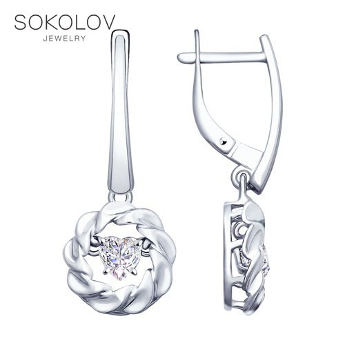 SOKOLOV Silver Drop Earrings With Stones With Stones With Stones With Stones With Swarovski Crystals Fashion Jewelry Silver 925 Women's Male