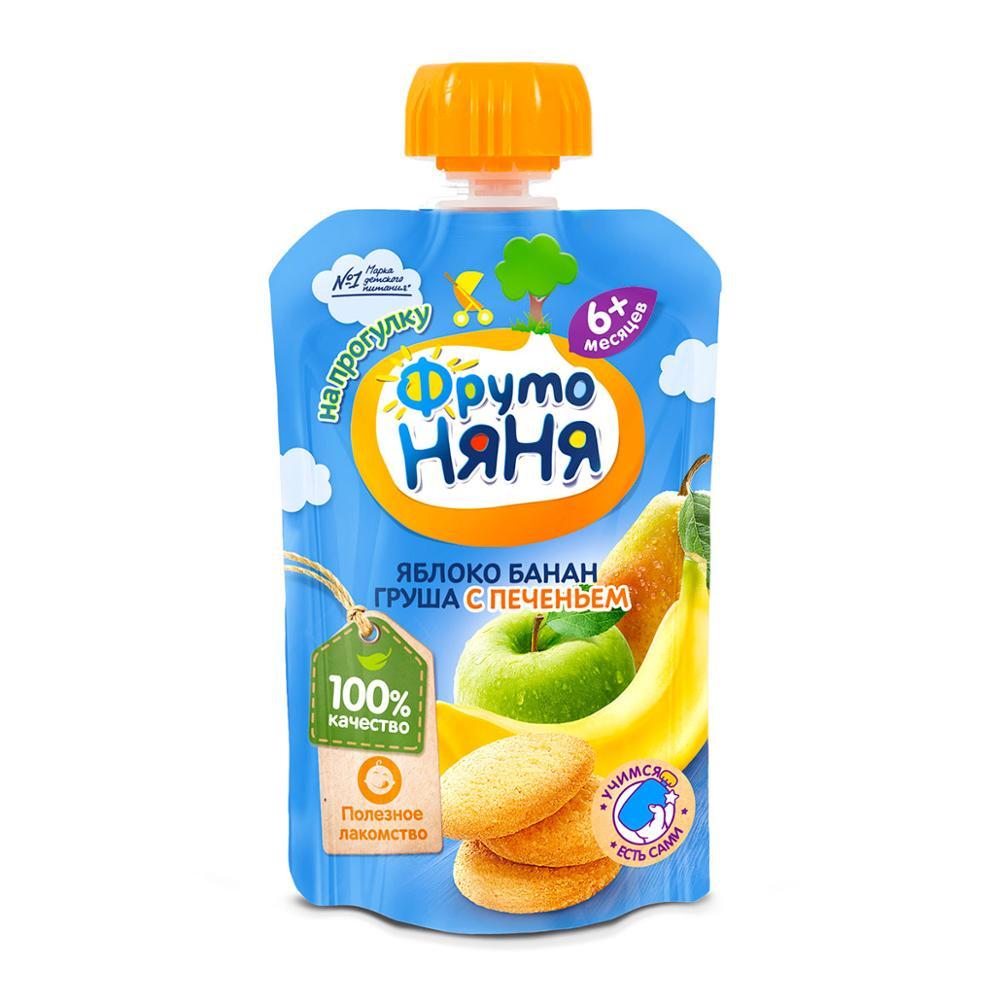 Пюре ФрутоНяня из яблок с бананом, грушей и печеньем 90 г с 6 месяцев