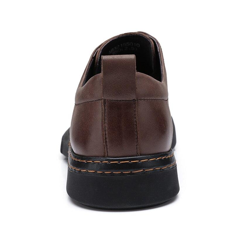 CAMEL/Мужская обувь; сезон осень; удобная мужская повседневная обувь из натуральной кожи; британский джентльмен; восковая воловья кожа; элегантные лоферы - 4