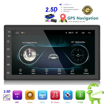 NEW 2.5D Android 2din Car Multimedia MP5 Player Radio GPS Navi WIFI Autoradio 7'' Touch Screen Bluetooth FM Audio Car Stereo image