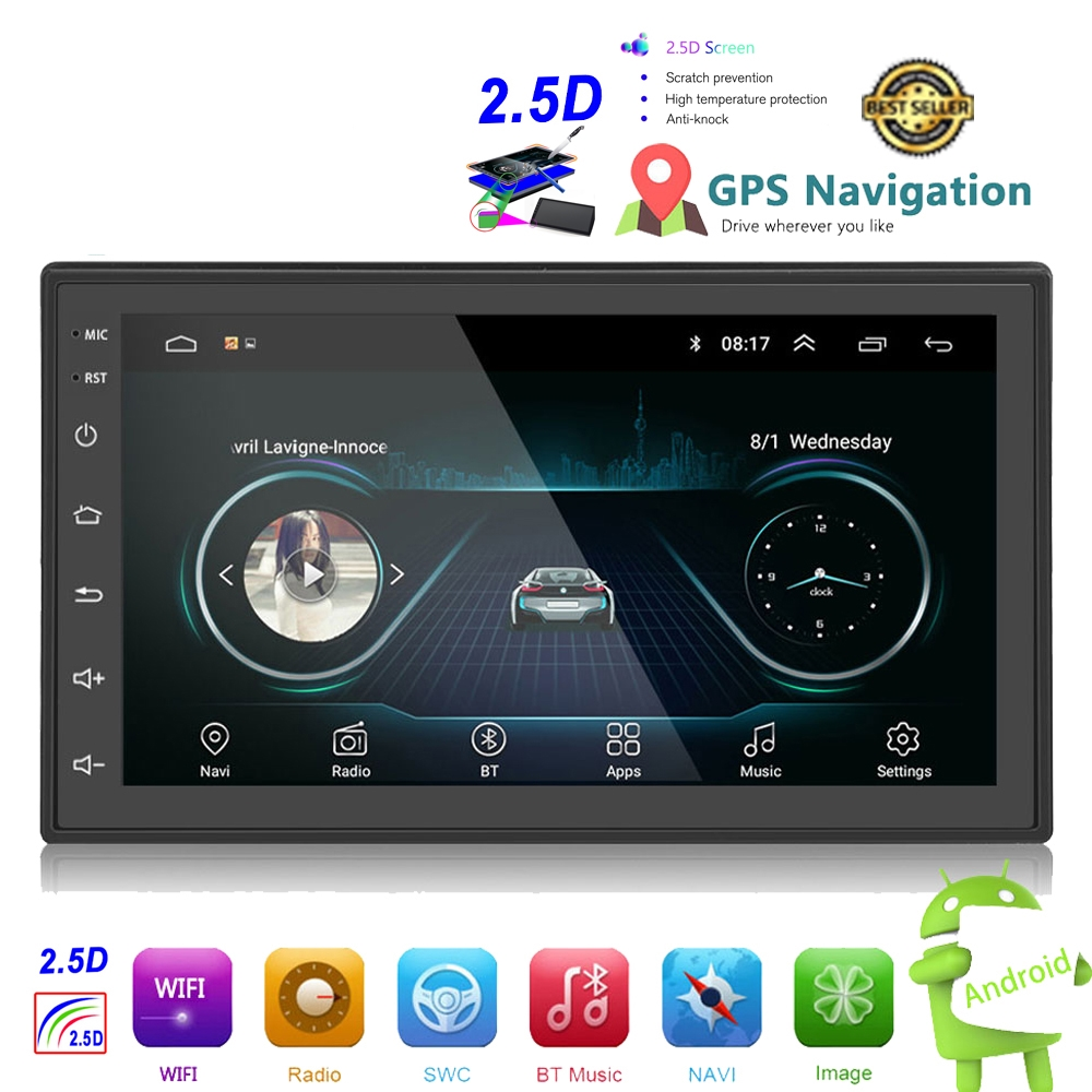 OLOMM 2.5D Android 2din Car Multimedia MP5 Player Radio GPS Navi WIFI Autoradio 7'' Touch Screen Bluetooth FM Audio Car Stereo