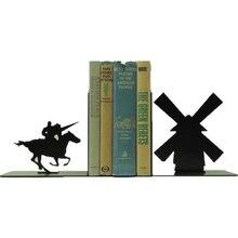 Decorative Bookends Metal Bookshelf Book Holders Non-skid Duty Iron Art Black Cartoon Stand for Support Magazines CD Organizer