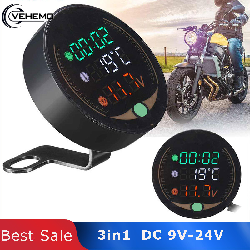 Vehemo 3in1 Voltage Meter Clock 12V Universal Electronic Digital Thermometer Temperature Time for Motorcycle Modified ATV LED