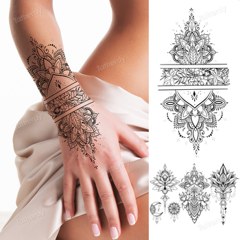 Fałszywy tatuaż z henny mandala kwiaty lotosu jewery arabski indyjski egipski tatuaż rękaw ręka palec piersi tatuaż czarna wodoodporna tanie i dobre opinie Tattrendy Jedna jednostka CN (pochodzenie) 20 5cm*9 5cm Zmywalny tatuaż Arm sleeve tattoo Waterproof Once eco-friendly nontoxic