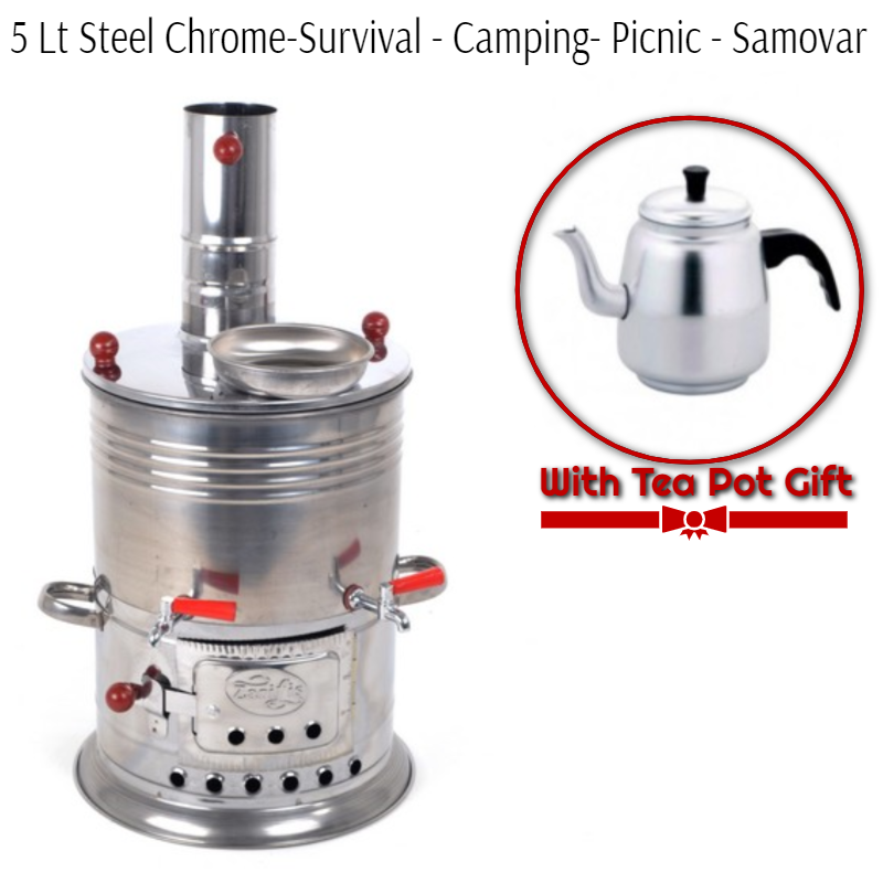 Double Tap-5 Liter Steel-Chrome  Wood And Charcoal Survivors Camp And Picnic Samovar Light And Durable-With Samawar Tea Pot Gift