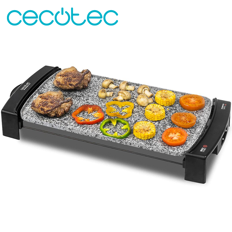 Cecotec Rock & Water 2500 Electric Roasting Iron 45x25 Cm With Adjustable Temperature Cast Aluminum Body 2.5 Mm  Removable Cable
