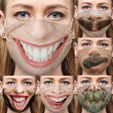 Breathable Masks Face-Safe Funny Realistic 3d-Printing Cotton Big Dust-Proof-Cover Party