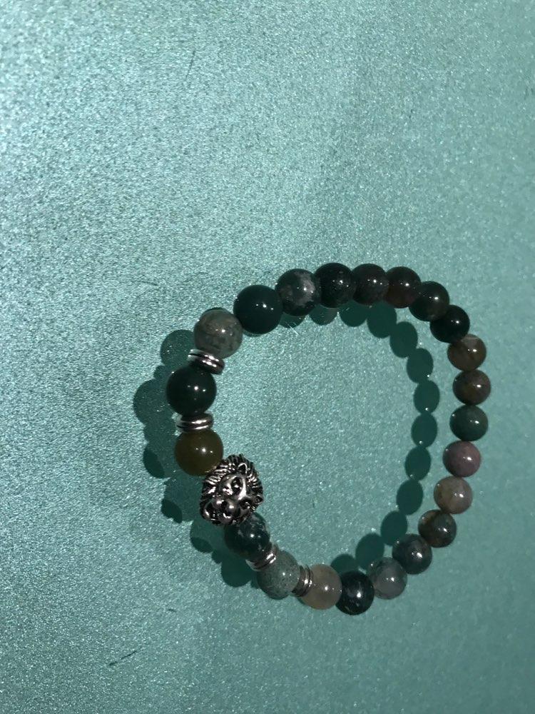 Wholesale Antique Gold-Color Buddha Leo Lion Head Bracelet Black Lava Stone Beaded Bracelets For Men Women Pulseras Hombre N4-3