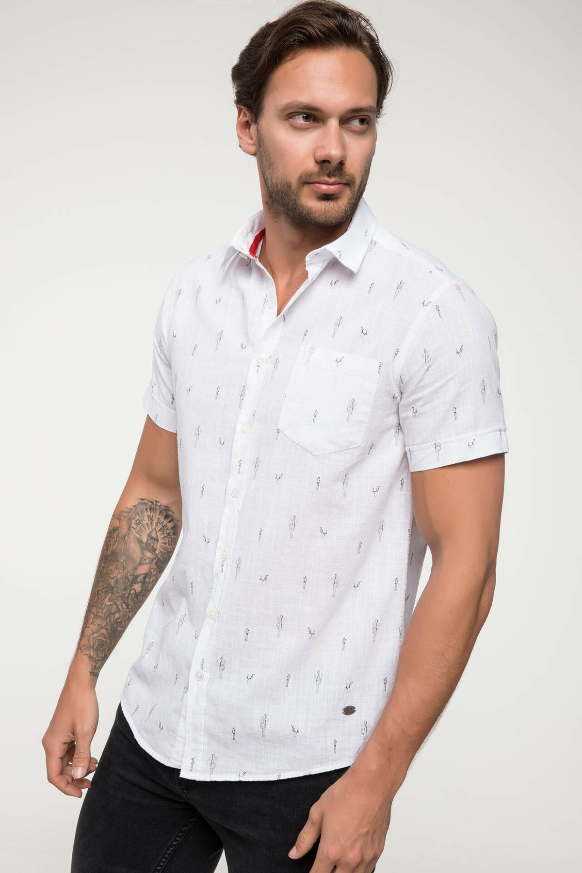 DeFacto New Man Short Sleeve Shirt Men's Fashion Print Pattern High Quality Tops Male Casual Comfort Shirts Summer - I4927AZ18SM