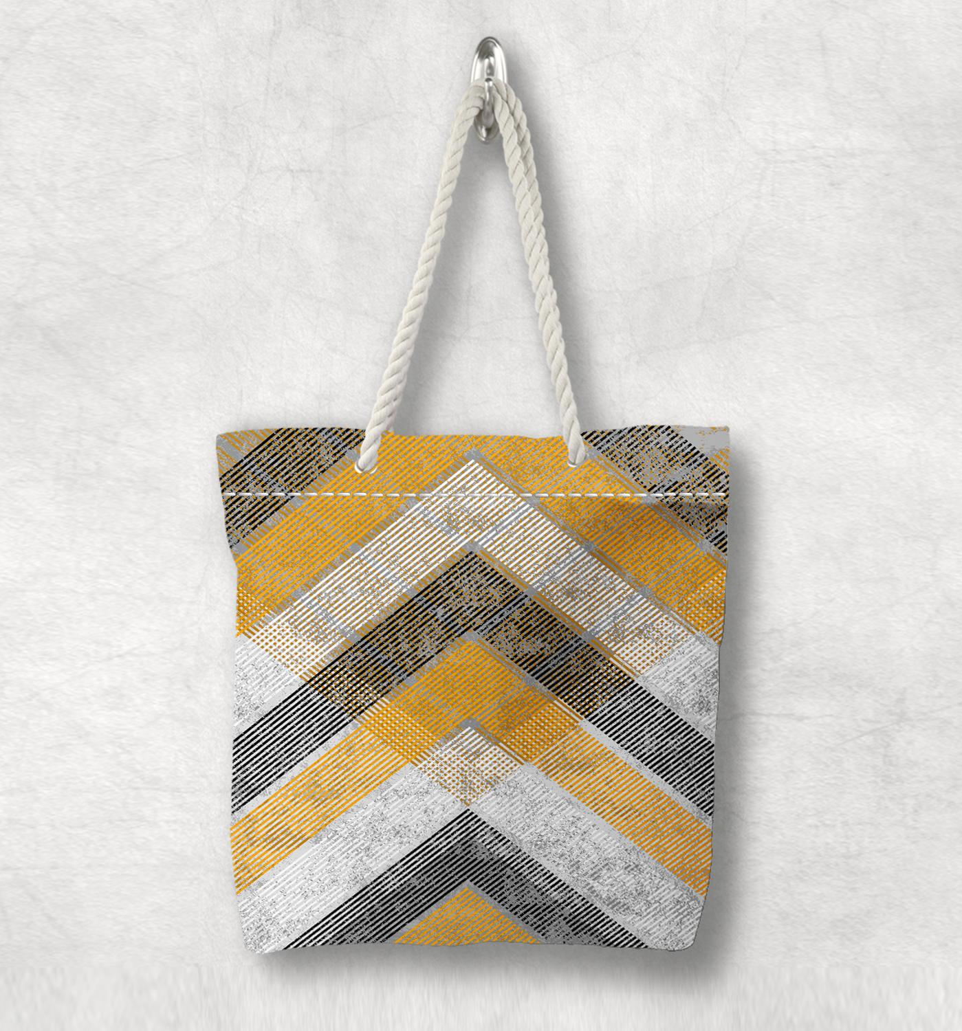 Else Gray Yellow Arrow Lines Geometric New Fashion White Rope Handle Canvas Bag Cotton Canvas Zippered Tote Bag Shoulder Bag