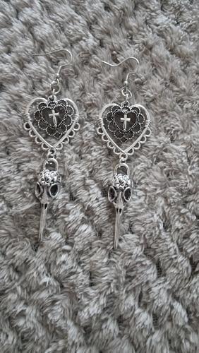 E-girl Gothic Punk Heart Cross and Bird Skull Earrings photo review