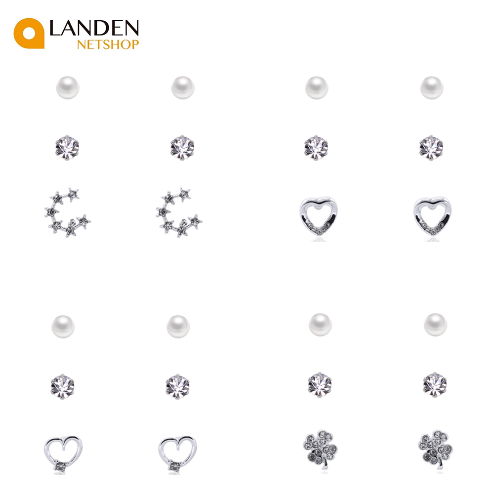3 Pair/order's Set Of Earrings Fashion 2019,  Crown And Heart For Woman