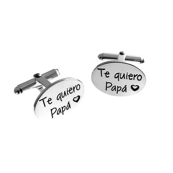Cufflinks Sterling Silver 925m oval 19mm. Dedication I love POPE Laser Man [AC1262]