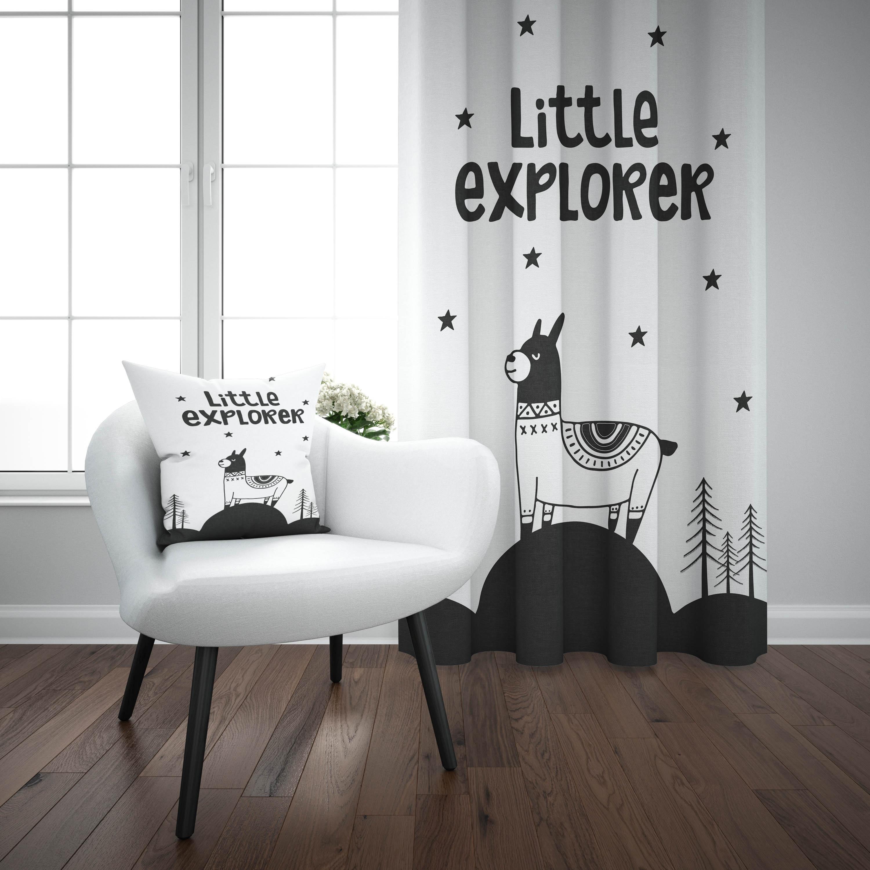 Else Black White Little Explorer Mountain Stars 3d Print Kids Baby Children Window Panel Set Curtain Combine Gift Pillow Case