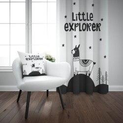 Mais preto branco pequeno explorador montanha estrelas 3d impressão crianças do bebê painel da janela conjunto cortina combinar presente travesseiro caso