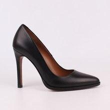 Kadın Ayakkabı Yüksek Topuklu Hakiki Deri Siyah Bej