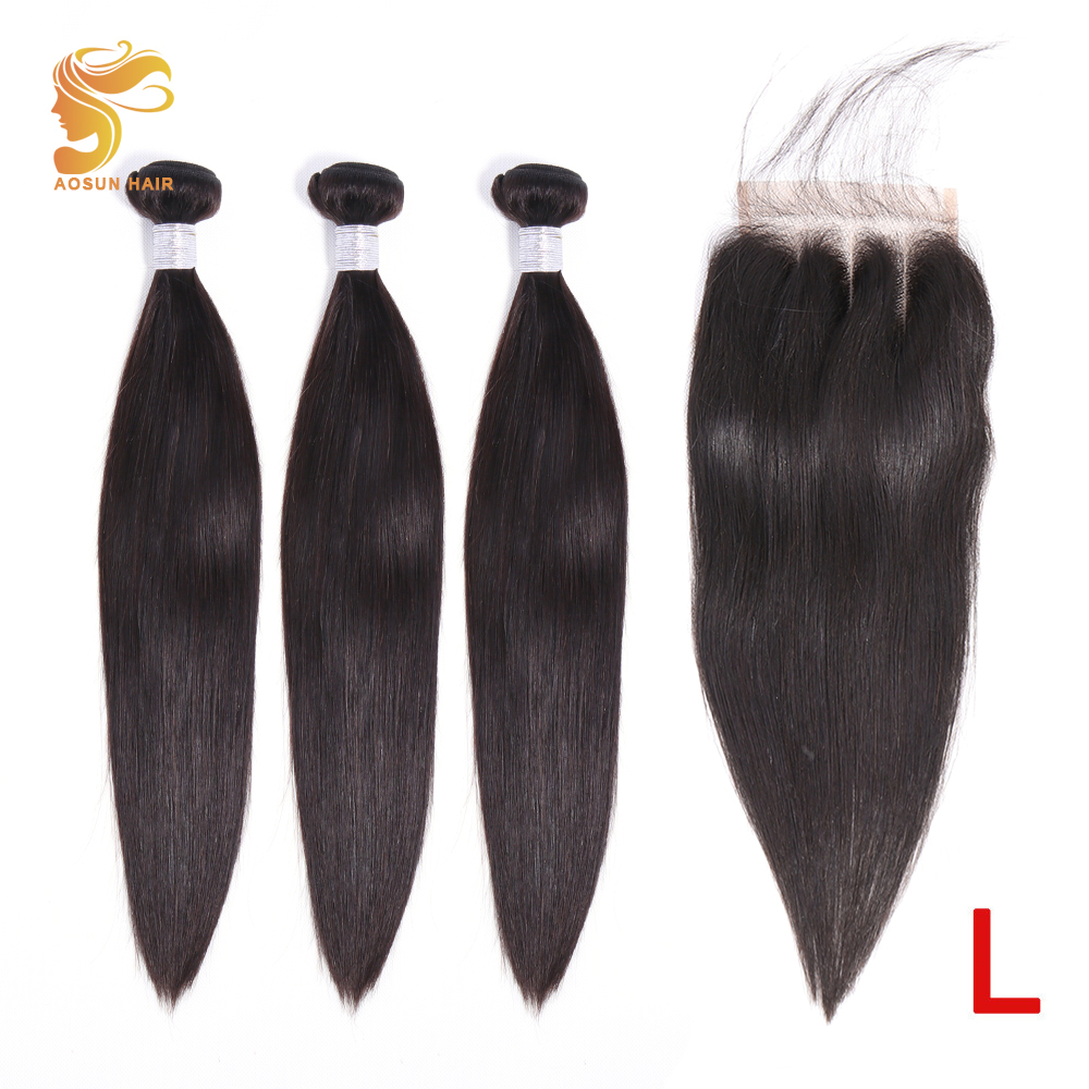 AOSUN HAIR Peruvian Straight Bundles With Closure 3 Bundles Hair With Closure Remy Human Hair Bundles With Closure 8-26Inches