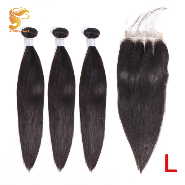AOSUN HAIR Peruvian Straight Bundles With Closure 3 Bundles Hair With Closure Remy Human Hair Bundles with Closure 8 26Inches