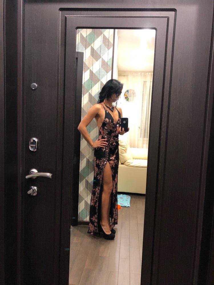 Sexy Lace Up Halter Sequin Party Dresses Women High Split Maxi Dress Festa Female Christmas Long Dress Vestidos photo review