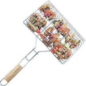 Корзина для барбекю и гриля, переносная сетка для барбекю, Складной садовый инструмент для барбекю с деревянной ручкой для приготовления ры...