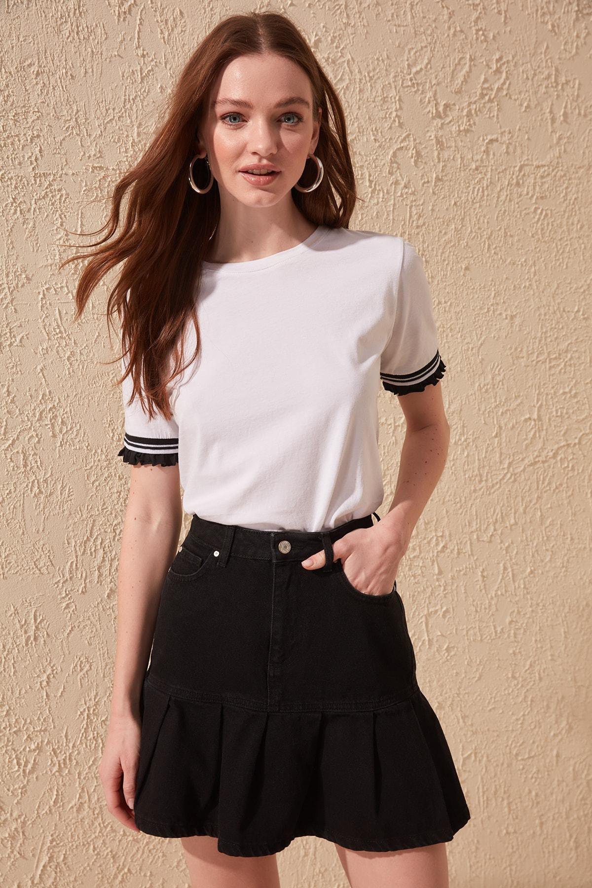 Trendyol Pleated Denim Skirt TWOSS20ET0069