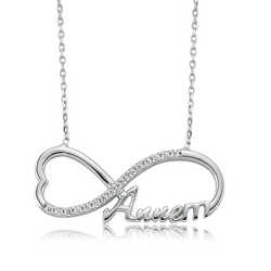 925 Sterling Silver Mom Printed Infinity Ladies Necklace