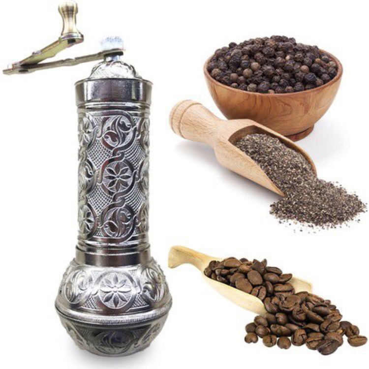 1- SILVER- Authentic -Anatolian- Turkish -Copper -Grinder- Salt -Pepper -Coffee-Mill-Spice-Salt-Grinder- Pepper -Grinder -Made- in-Turkey