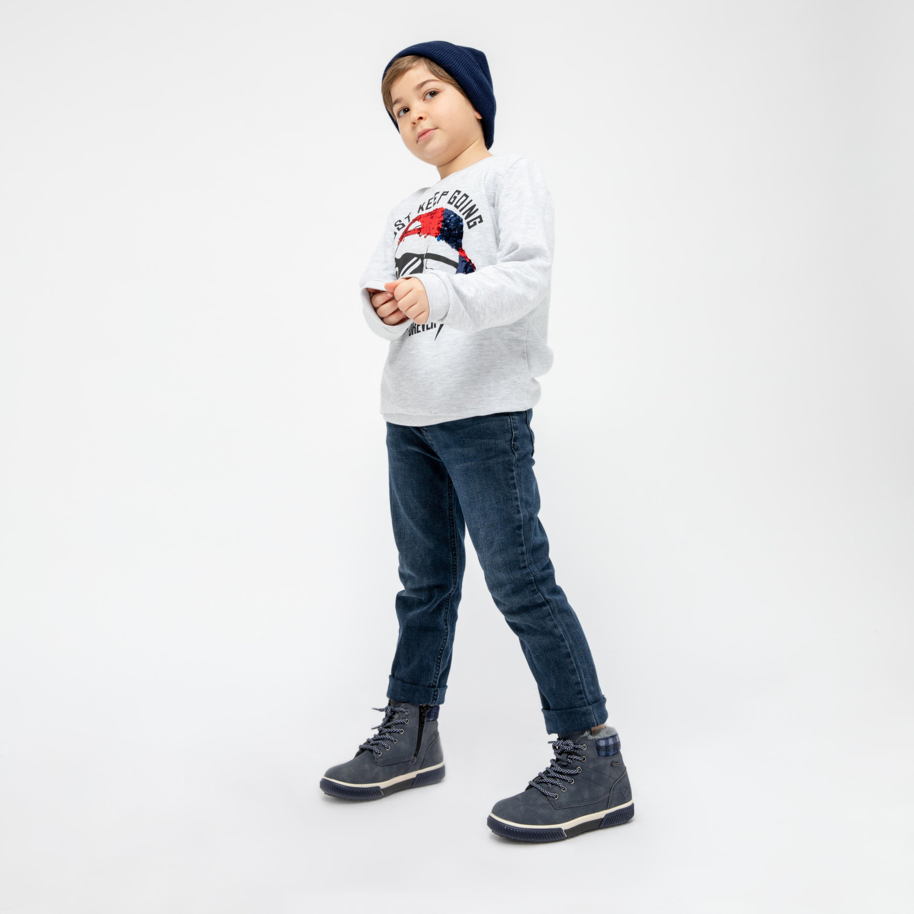FLO LUCERNE Navy Blue Male Child Boots KINETIX