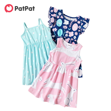 PatPat New Arrival 2021 Summer and Spring 3-piece Rainbow Cloud Short-sleeve Dress Children's Clothing