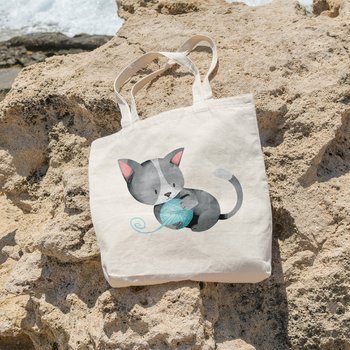 Angemiel Bag With a Ball of İp Playing Kitten Picture Shopping Beach Tote Bag