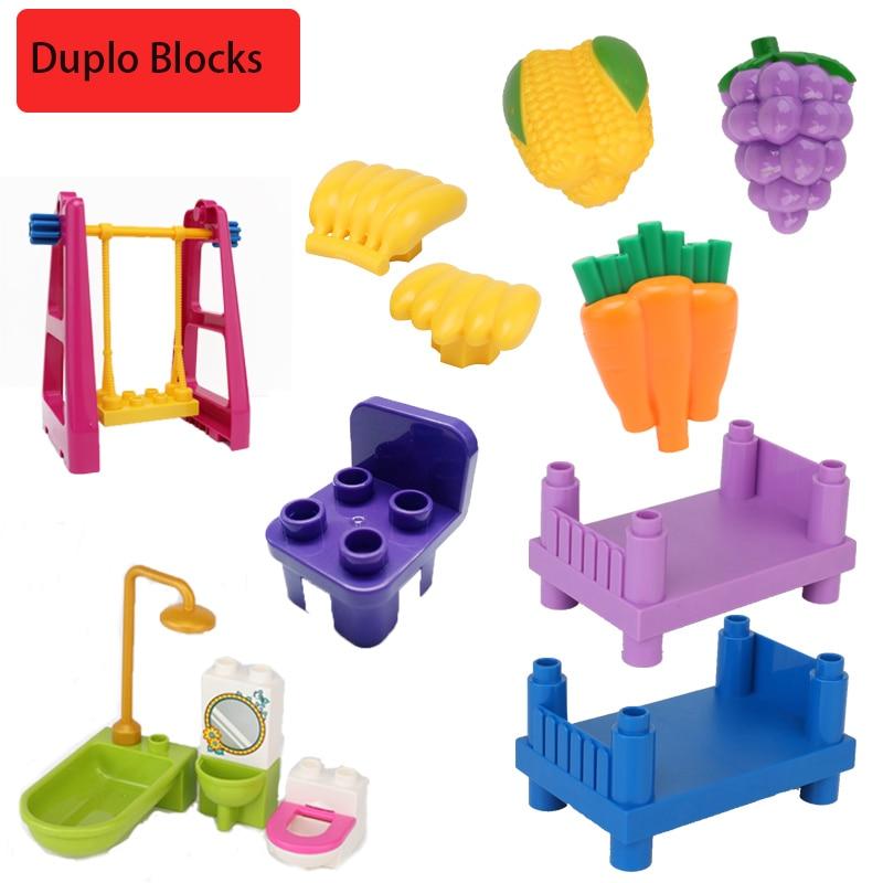 Duplo мебель, туалет, кровать, шкаф, игрушки, большой размер, банановый ящик, детские подарки, аксессуары, стул Duplo, город, строительные блоки ...