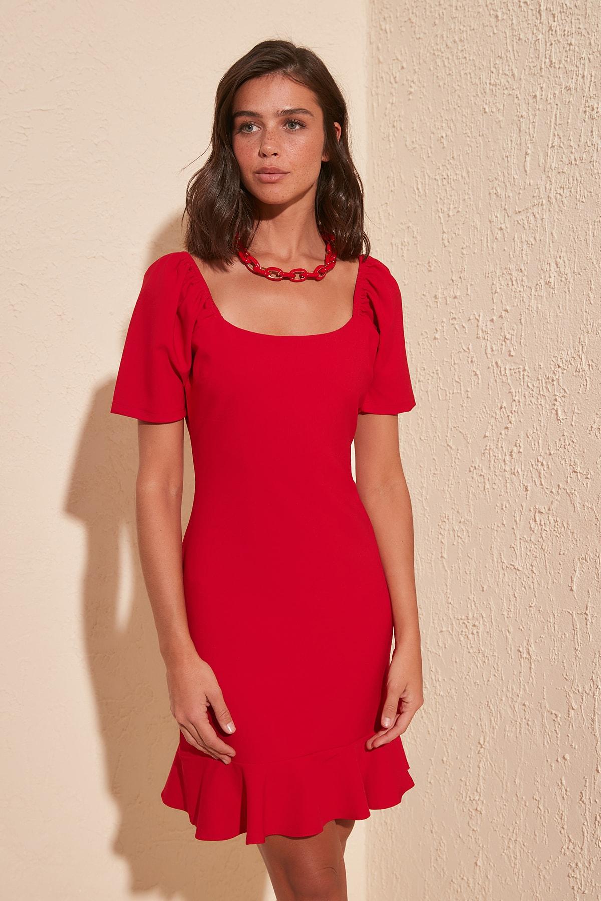 Платье с оборкой TWOSS20EL0399 Платья      АлиЭкспресс
