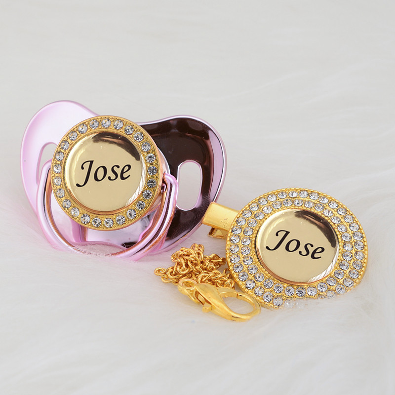 MIYOCAR custom any name can make gold bling pacifier and pacifier clip BPA free dummy bling babyshower gift new