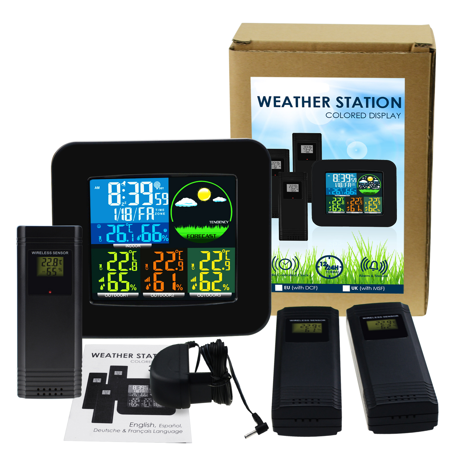 Weather Station RCC DCF MSF with 3 Wireless Sensor Alarm Clock 6 Weather Forecast LCD Colored