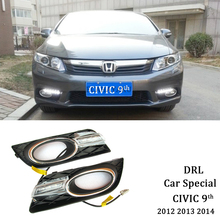 цена на ECAHAYAKU Relay 12V Car Special LED DRL Daytime Running Light Accessories with Fog Lamp Cover For Honda Civic 9th 2012 2013 2014