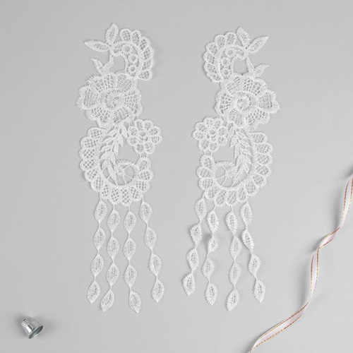 3557528 Appliques Sewing Lais Polyester 28*8,5 Cm White