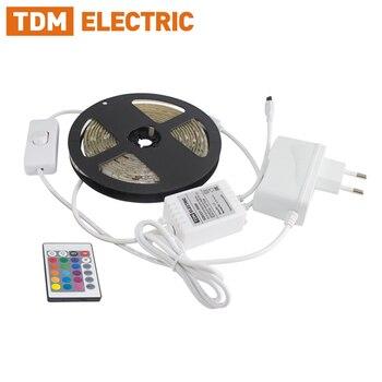Комплект светодиодной ленты SMD5050-30 LED/м-12 В-7,2 Вт/м-IP65-RGB (1 м /3 м) ، 12 Вт/18 Вт ، IR-контроллер TDM SQ0331-0236