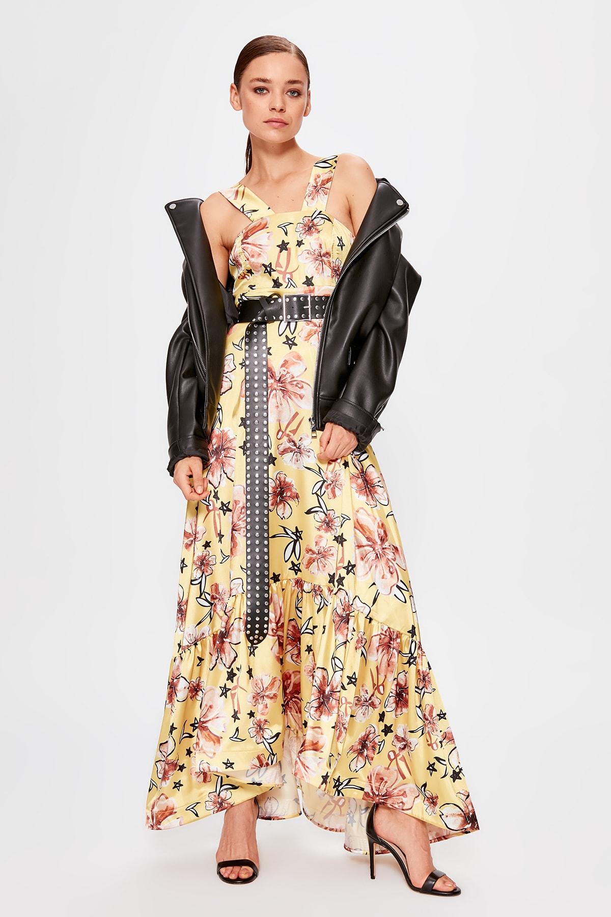 Trendyol Flower Pattern Evening Dress TPRSS19AE0150