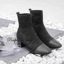 BHS 9011174 Chic Genuine Cow Leather Suede 5CM Chunky Heel Stylish Patchwork Round Toe 3 Colors Mid Calf Women Fashion Boots